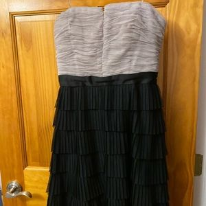 Max & Cleo gray and black ruffle cocktail dress